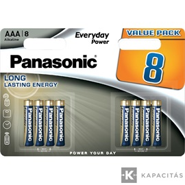 Panasonic Everyday Power AAA mikro 1.5V szupertartós alkáli elemcsomag LR03EPS-8BW-4+4
