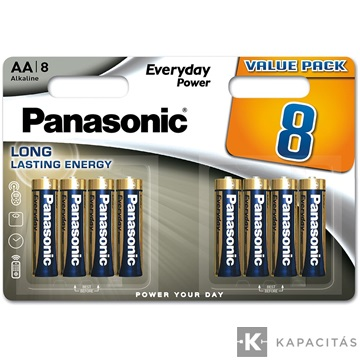 Panasonic Everyday Power AA ceruza 1.5V szupertartós alkáli elemcsomag LR6EPS-8BW