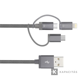 SKROSS Steel line 3in1 (Micro/Type-C/Lightning) 30cm USB kábel